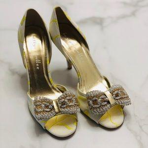 Bettye Muller Embroidered Peep Toe Heels 39.5